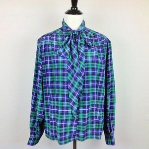 Vintage Evan Picone Blouse Womens 10 Plaid